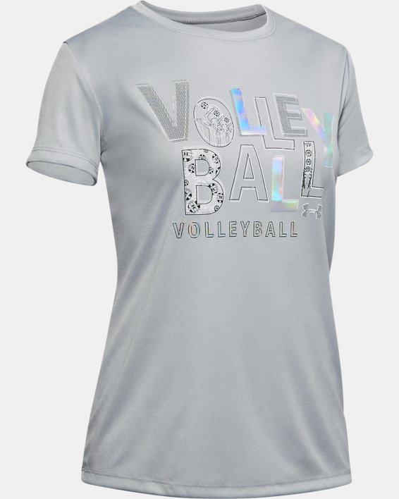 Girls' UA Volleyball Short Sleeve, Gray, pdpMainDesktop image number 0