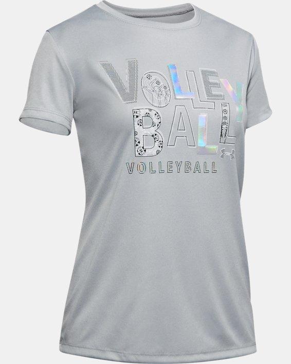 Girls' UA Volleyball Short Sleeve, Gray, pdpMainDesktop image number 0