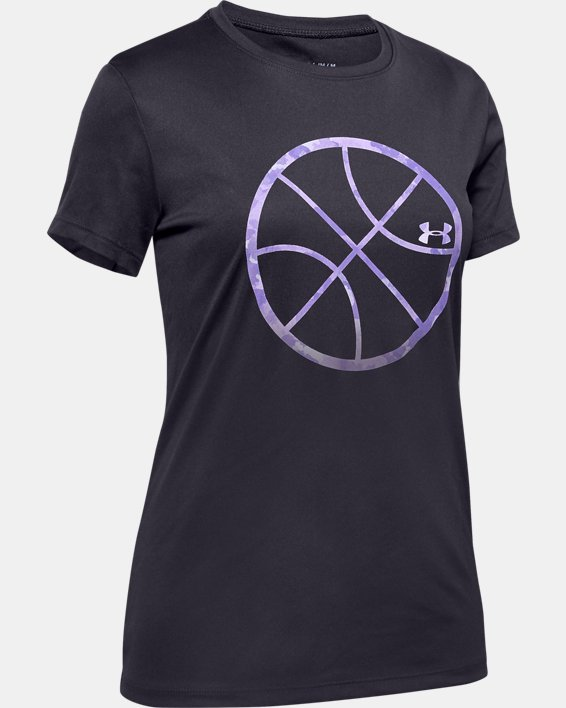 Girls' UA Basketball Logo Short Sleeve, Purple, pdpMainDesktop image number 0