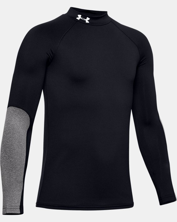 Boys' ColdGear® Mock Long Sleeve, Black, pdpMainDesktop image number 0