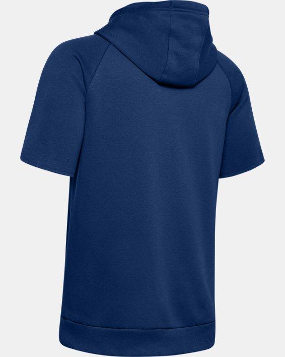 Men's UA Rival Fleece Logo Short Sleeve Hoodie, Blue, pdpMainDesktop image number 5