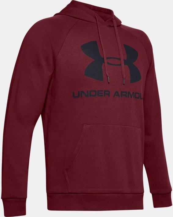 Men's UA Rival Fleece Logo Hoodie, Red, pdpMainDesktop image number 4