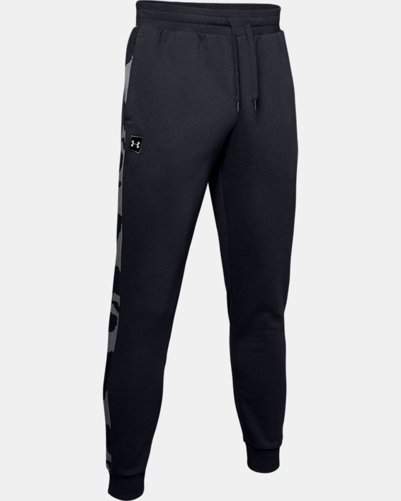 Men's UA Rival Fleece Printed Joggers, Black, pdpMainDesktop image number 4