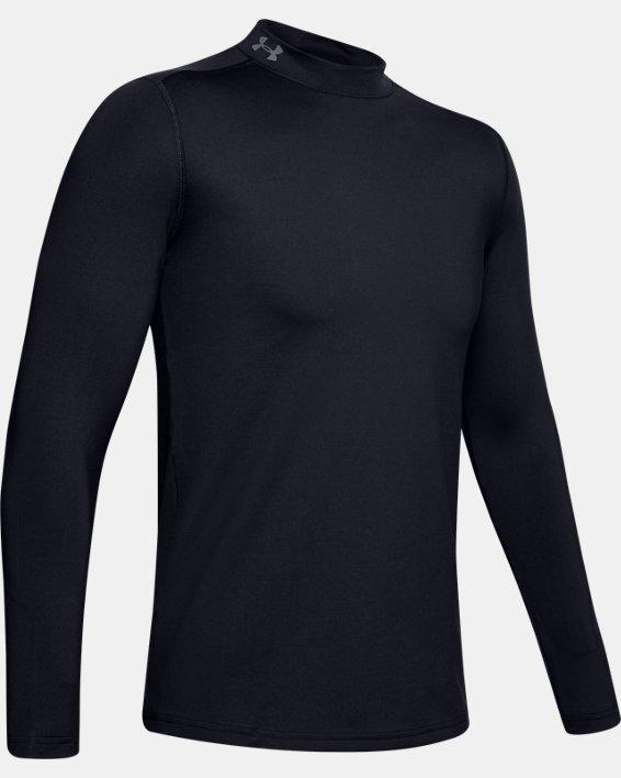 Men's ColdGear® Armour Fitted Mock Long Sleeve, Black, pdpMainDesktop image number 4