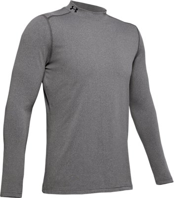 New Men/'s Under Armour Coldgear Fitted Mock Shirt 1345703 Gray Medium Large XL
