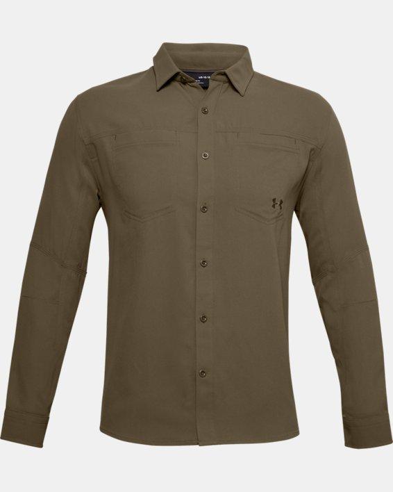 Men's UA Payload Button Down Shirt, Brown, pdpMainDesktop image number 3