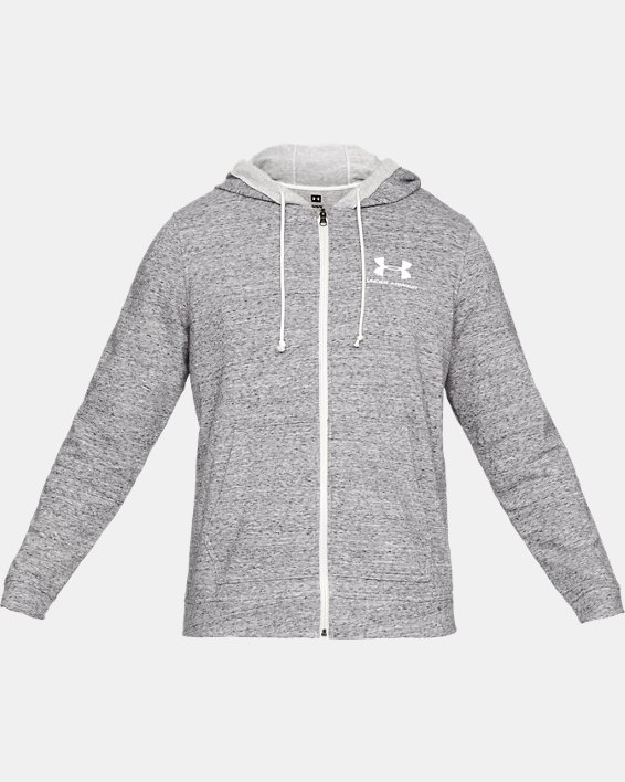 Men's UA Sportstyle Terry Full Zip, White, pdpMainDesktop image number 3