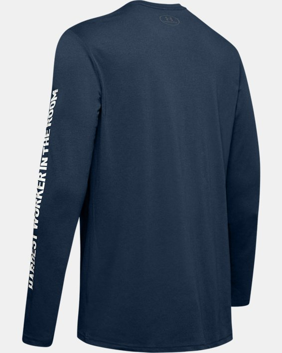 Men's Project Rock Hardest Worker Long Sleeve Shirt, Navy, pdpMainDesktop image number 5