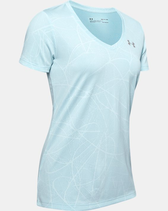 Women's UA Tech™ Defense Jacquard V-Neck Short Sleeve, Blue, pdpMainDesktop image number 4