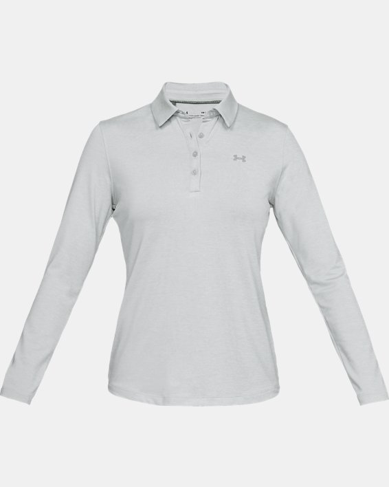 Women's UA Zinger Long Sleeve Polo, Gray, pdpMainDesktop image number 3