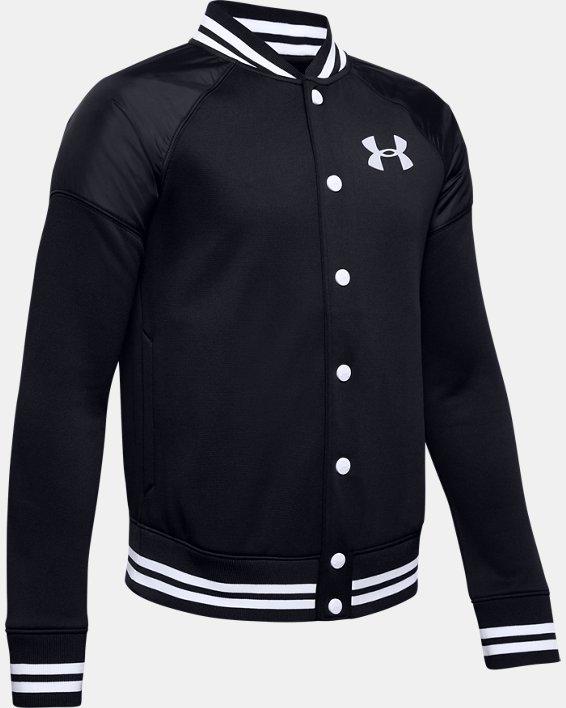 Boys' Armour Fleece® Bomber Jacket, Black, pdpMainDesktop image number 0