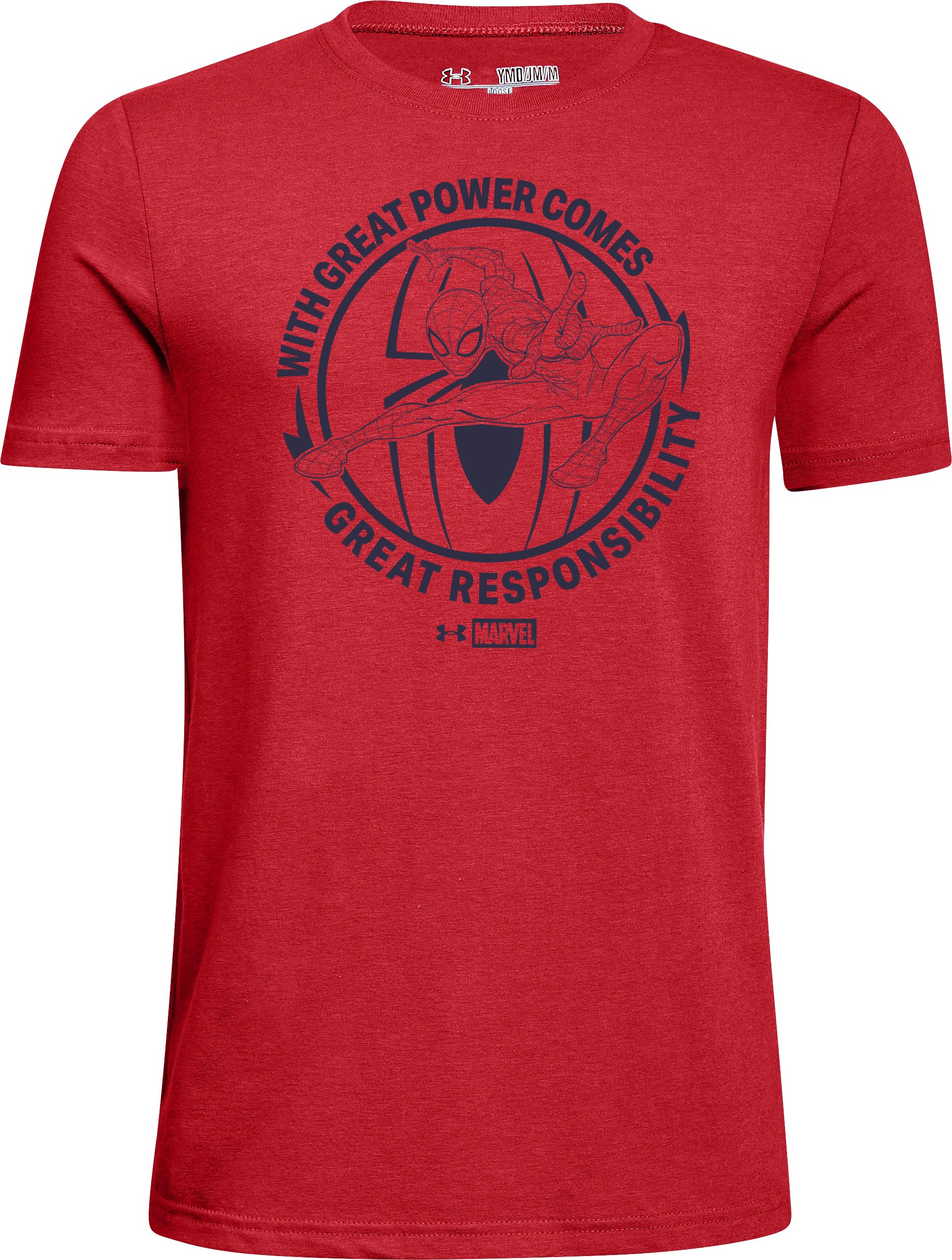 Boys' UA Spiderman Great Power T-Shirt, Red, zoomed