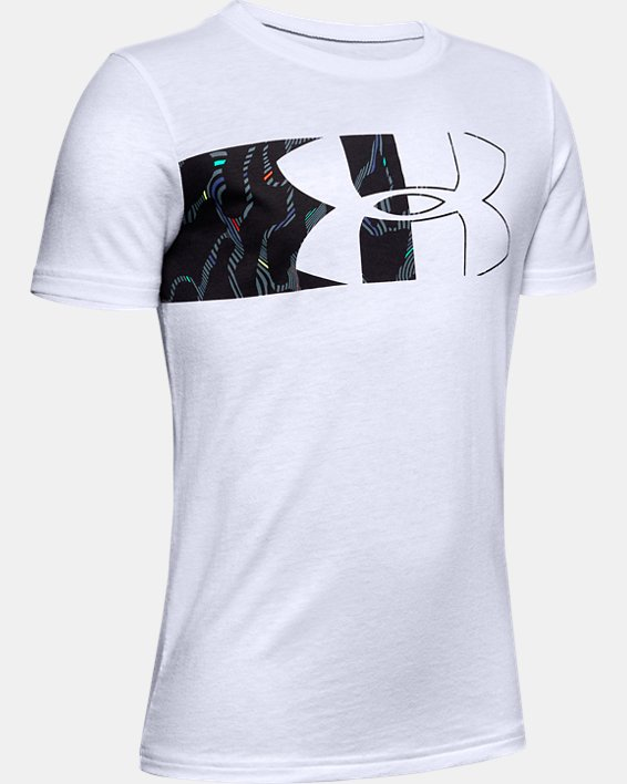 Boys' UA Split Logo Print Fill Short Sleeve, White, pdpMainDesktop image number 0
