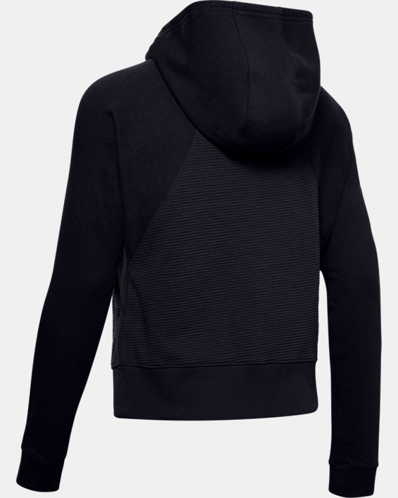 Women's UA Microthread Fleece Graphic Full Zip Hoodie, Black, pdpMainDesktop image number 5