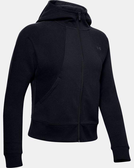 Women's UA Microthread Fleece Graphic Full Zip Hoodie, Black, pdpMainDesktop image number 4