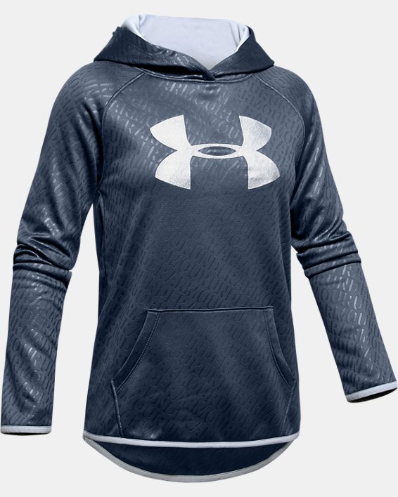 Girls' Armour Fleece® Emboss Hoodie, Gray, pdpMainDesktop image number 4