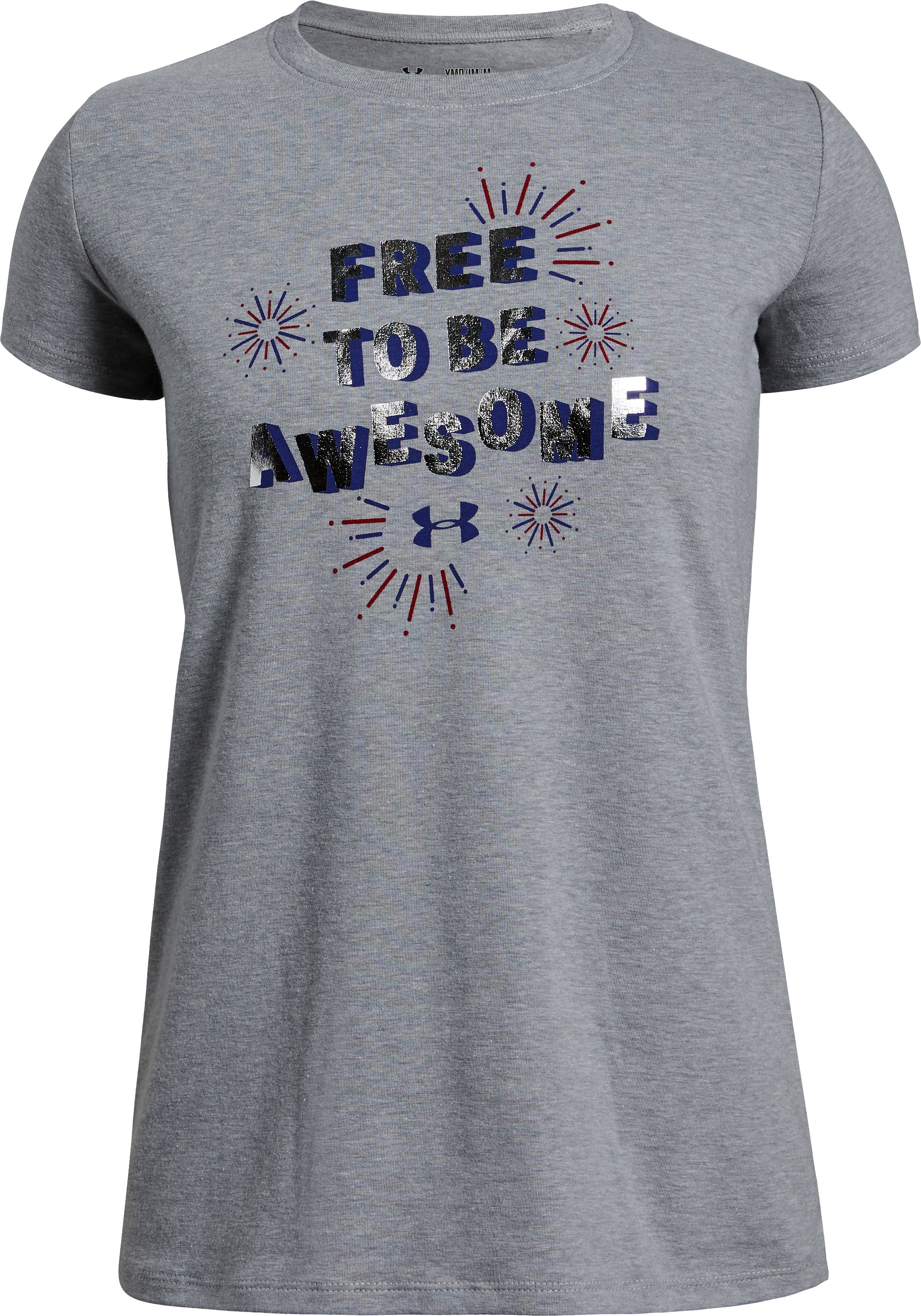 Girls' UA Free To Be Awesome Short Sleeve T-Shirt, STEEL LIGHT HEATHER,