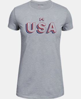 Girls' UA Stacked USA Short Sleeve T-Shirt  1  Color Available $20