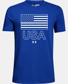 Boys' UA USA Flag Short Sleeve T-Shirt  1  Color Available $20