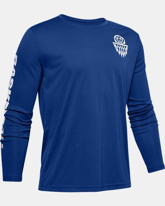 Boys' UA Velocity Basketball Long Sleeve, Blue, pdpMainDesktop image number 0