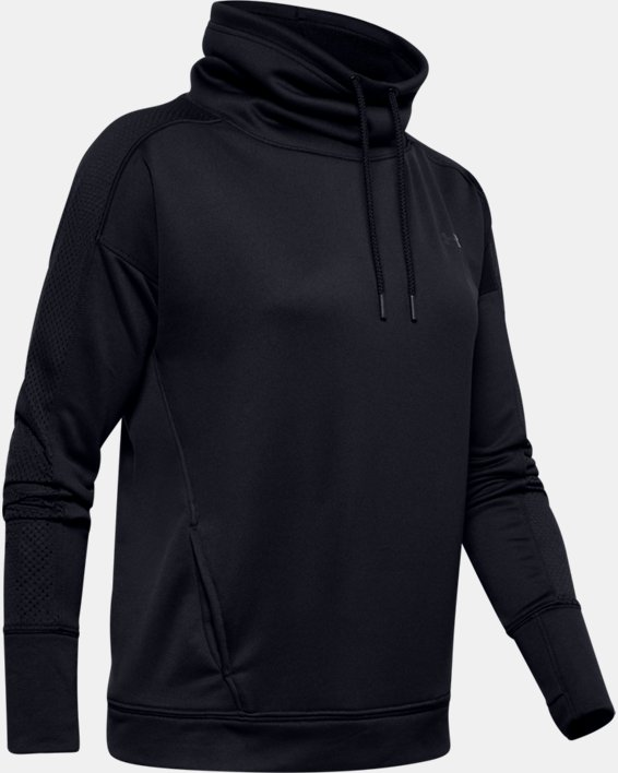 Women's UA Tech™ Terry Funnel Neck, Black, pdpMainDesktop image number 4
