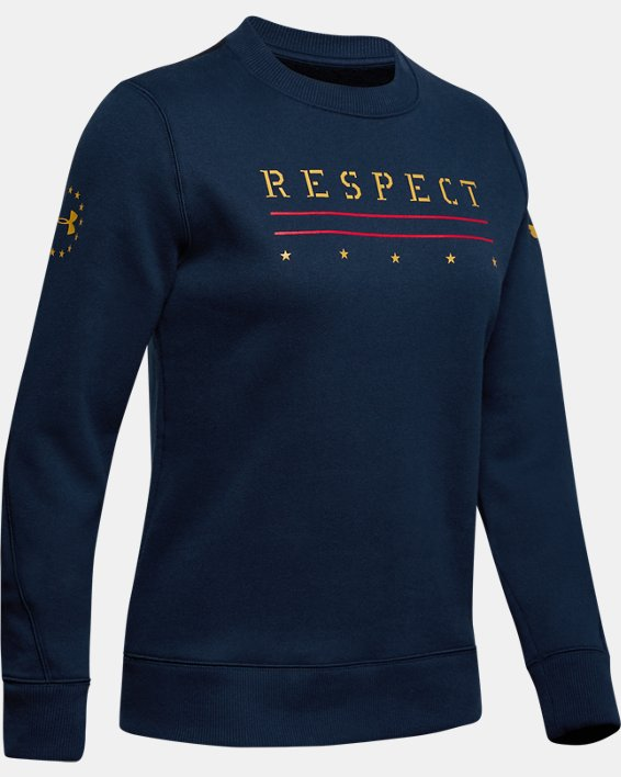 Women's UA Freedom x Project Rock Originators Fleece Crew, Navy, pdpMainDesktop image number 4
