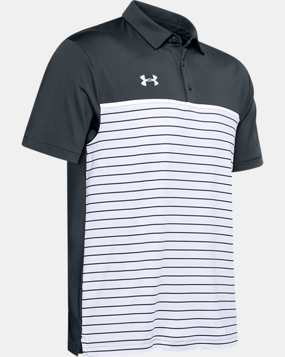 Men's UA Stripe Mix-Up Polo, Gray, pdpMainDesktop image number 4