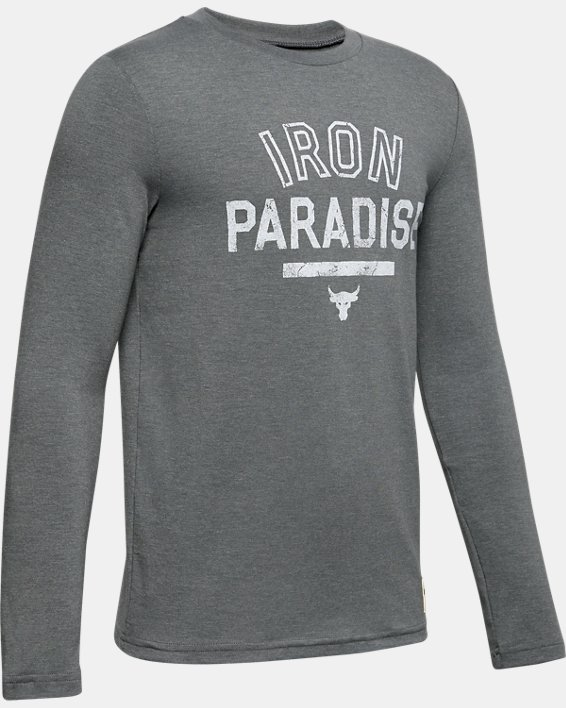 Boys' Project Rock Iron Paradise Graphic T-Shirt, Gray, pdpMainDesktop image number 0