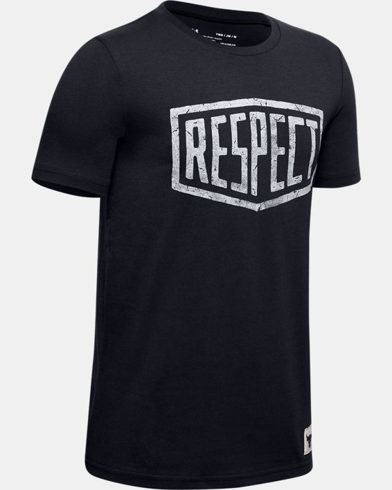 Boys' Project Rock Respect Graphic T-Shirt, Black, pdpMainDesktop image number 0