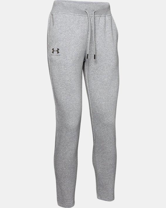 Women's UA Rival Fleece Open Hem Pants, Gray, pdpMainDesktop image number 4
