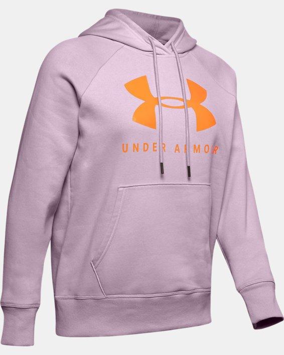 Women's UA Rival Fleece Sportstyle Graphic Hoodie, Pink, pdpMainDesktop image number 4