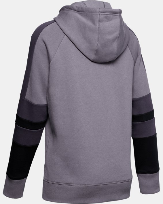 Women's UA Rival Fleece LC Logo Novelty Hoodie, Gray, pdpMainDesktop image number 5