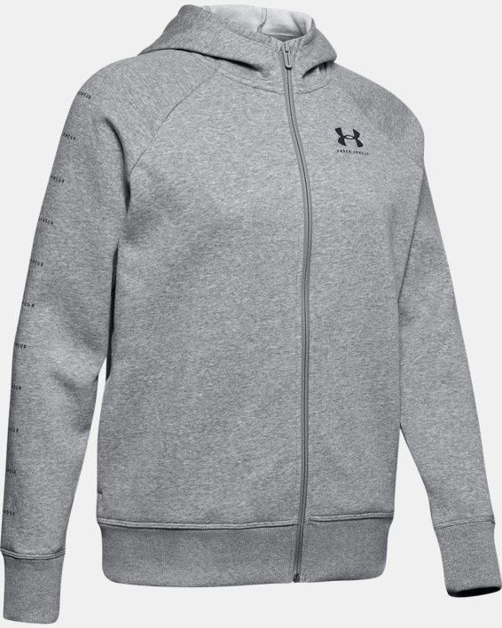 Women's UA Rival Fleece Sportstyle LC Sleeve Graphic Full Zip, Gray, pdpMainDesktop image number 4
