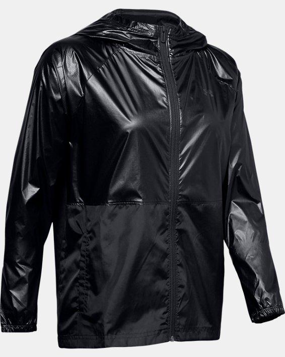 Women's UA Metallic Woven Full Zip, Black, pdpMainDesktop image number 4