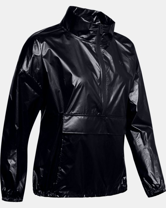 Women's UA Metallic Woven Anorak, Black, pdpMainDesktop image number 3