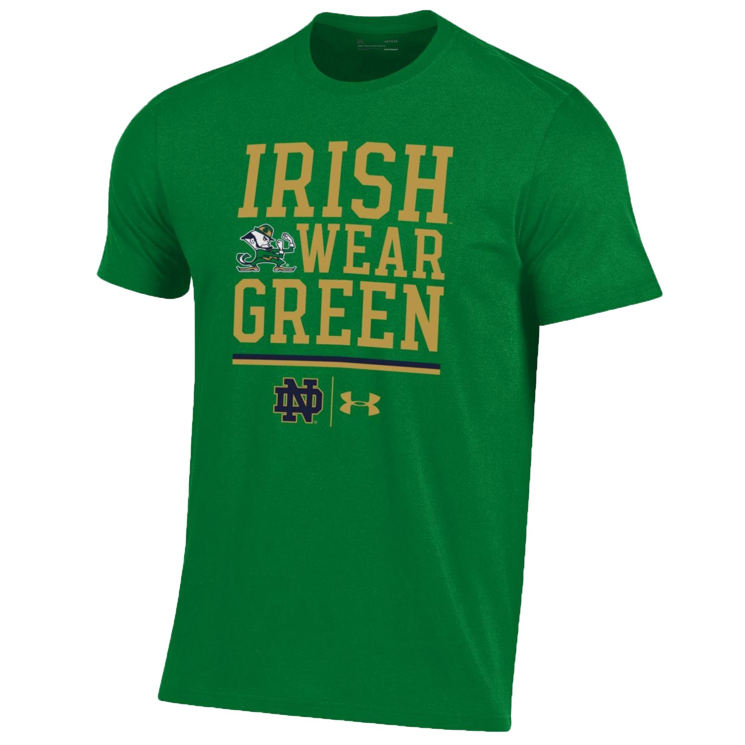 Men's Notre Dame Charged Cotton® Irish Wear Green T-Shirt  1 Color $28.00