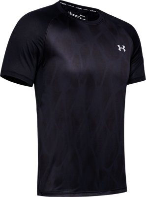 Under Armour Qualifier Iso-Chill Printed Short Sleeve Mens Running Top Black