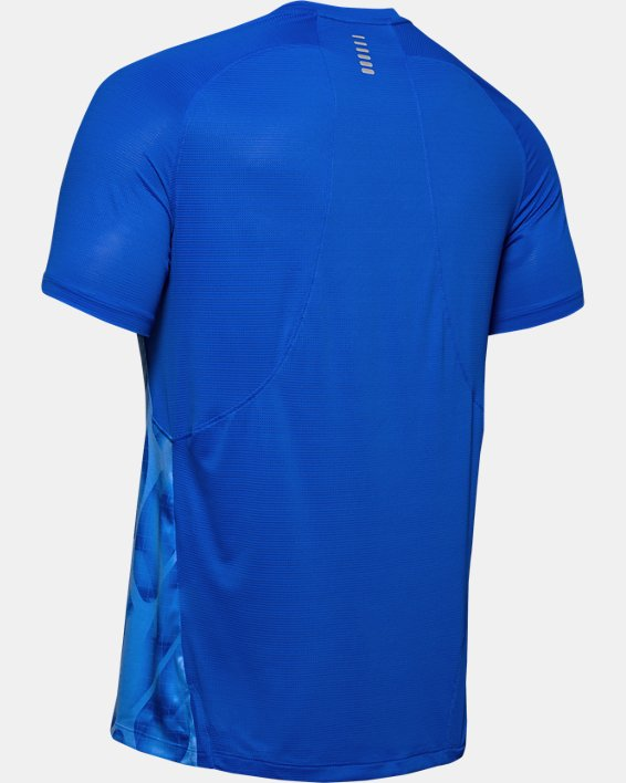 Men's UA Qualifier Iso-Chill Printed Run Short Sleeve, Blue, pdpMainDesktop image number 5