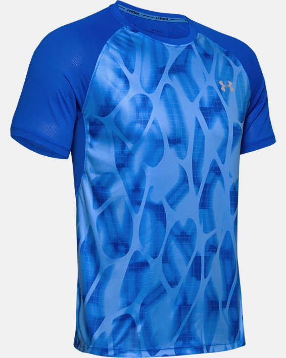 T-shirt à manches courtes UA Qualifier Iso-Chill Printed Run pour homme, Blue, pdpMainDesktop image number 4