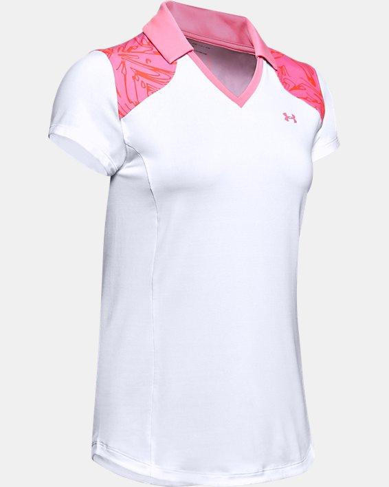 Women's UA Zinger Blocked Polo, White, pdpMainDesktop image number 3