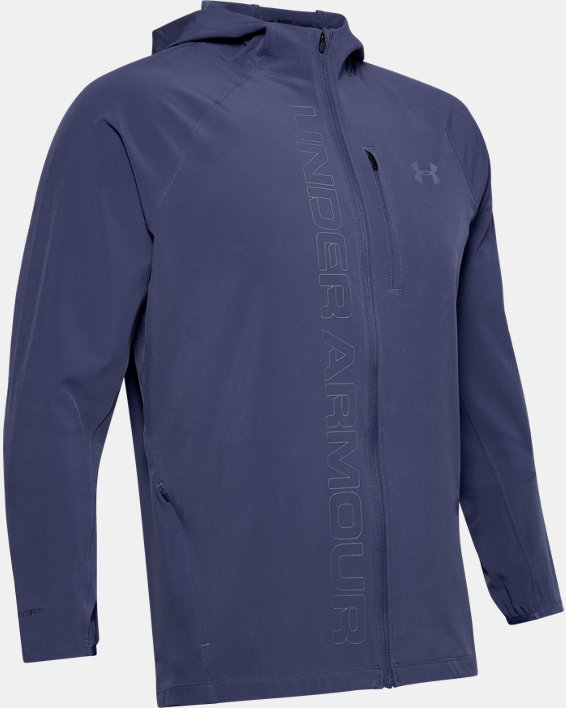 Men's UA Qualifier Outrun The Storm Jacket, Blue, pdpMainDesktop image number 3