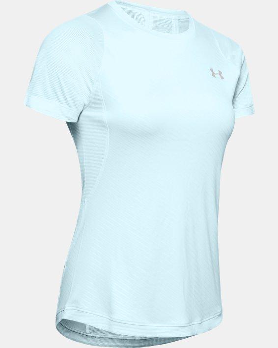 Women's UA Qualifier Iso-Chill Embossed Short Sleeve, Blue, pdpMainDesktop image number 3