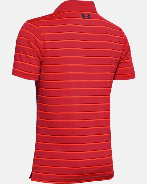 Boys' UA Performance Polo Stripe, Red, pdpMainDesktop image number 1