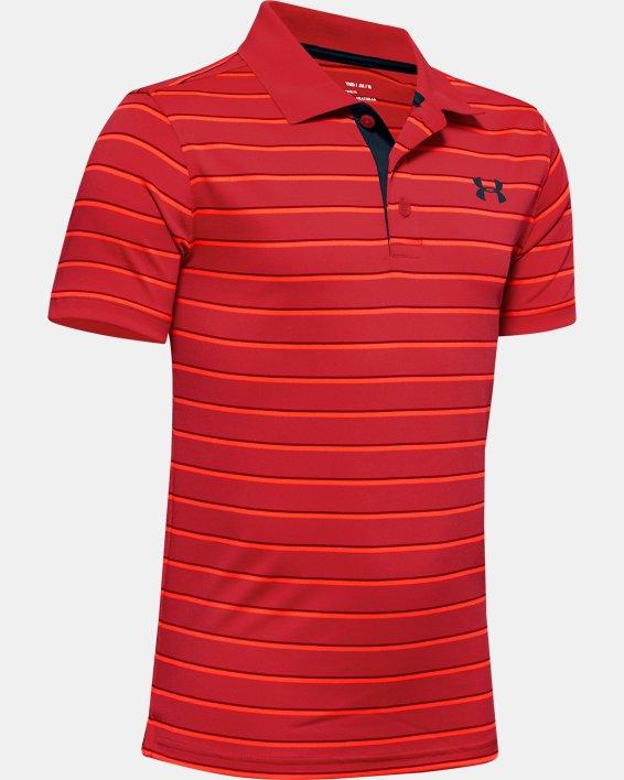 Boys' UA Performance Polo Stripe, Red, pdpMainDesktop image number 0
