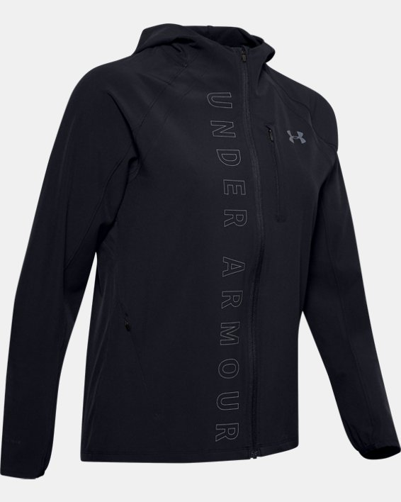Women's UA Qualifier OutRun The Storm Jacket, Black, pdpMainDesktop image number 3