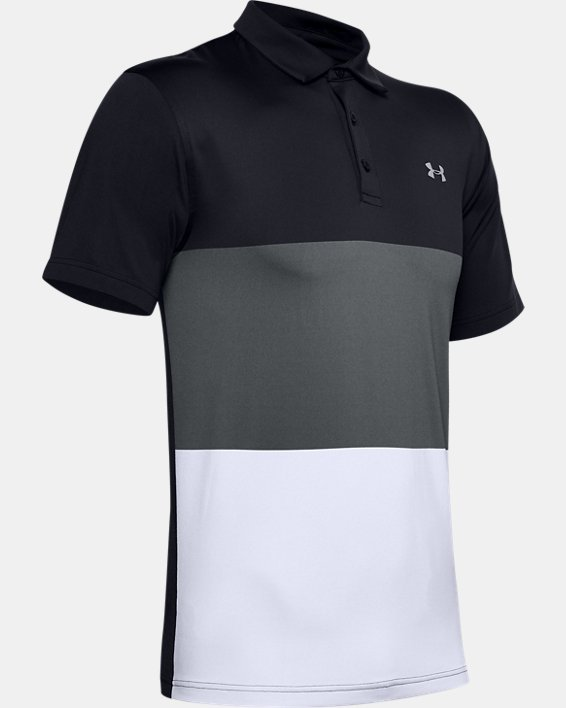 Men's UA Playoff Polo Colorblock, Black, pdpMainDesktop image number 4