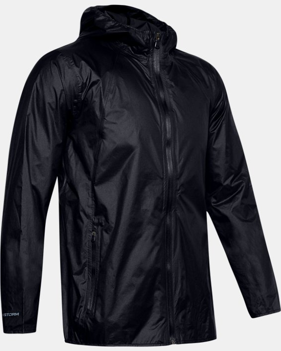 Men's UA Impasse Rain Shell Jacket, Black, pdpMainDesktop image number 4