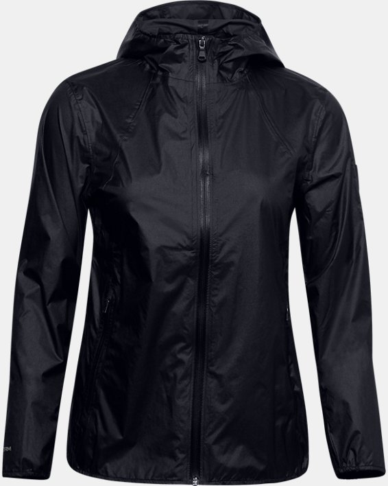 Women's UA Impasse Rain Shell Jacket, Black, pdpMainDesktop image number 0
