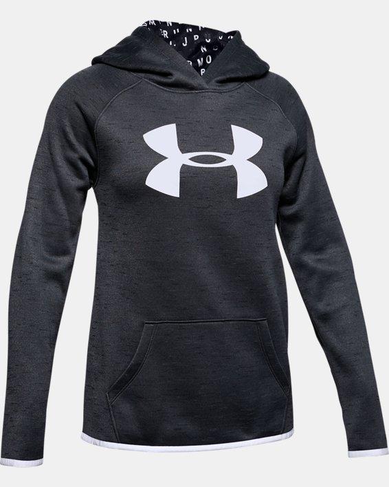 Girls' Armour Fleece® Big Logo Twist Hoodie, Black, pdpMainDesktop image number 4