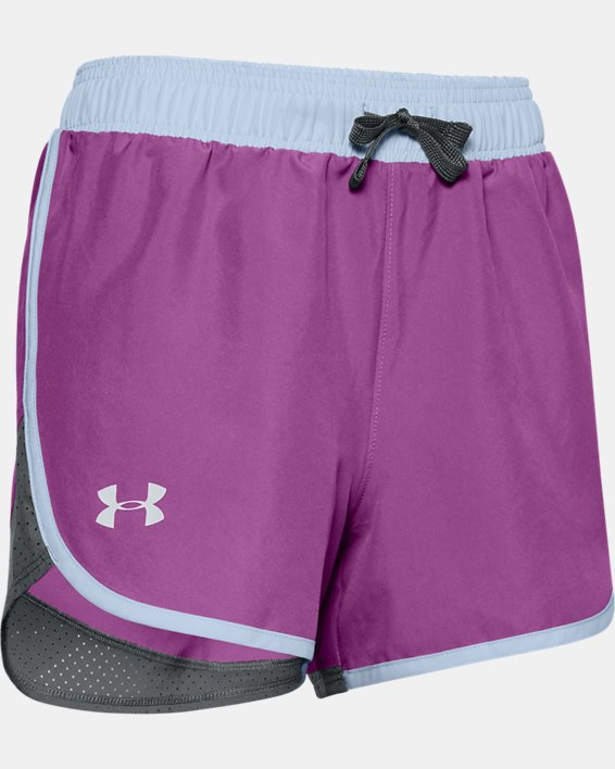Girls' UA Fast Lane Shorts, Purple, pdpMainDesktop image number 0